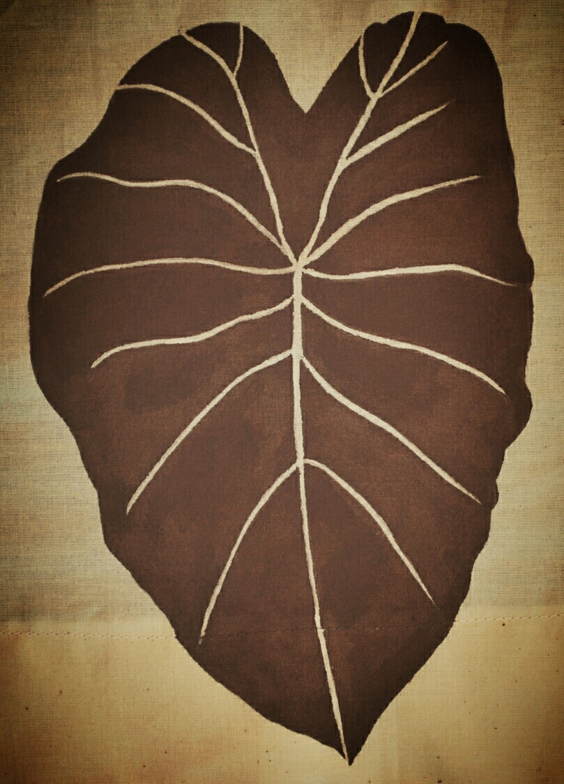 This kalo leaf, this sacred and beloved plant in Hawaiian culture, stands nearly 8 inches tall at the center of my  pā'ū  and mindfully dips below the hem line to underscore its importance.  My  kuleana  (my calling, my reason for being on this planet and in this body) is to soften and release the protective walls I have built around my heart. This leaf's bright veins represent the love and light pouring out of the very essence of my being.  Eighteen years ago my heart was not soft enough or open enough to receive hula's blessings. I had yet to uncover the power of allowing myself to be vulnerable. I had yet to comprehend the value of truly seeing and being seen.  Only after partnering with my husband, gestating, birthing, and parenting two children, healing emotional wounds, cultivating rituals of self-care, nurturing forms of expression, and co-creating community am I finally prepared to give and receive in the unique ways hula asks of me.
