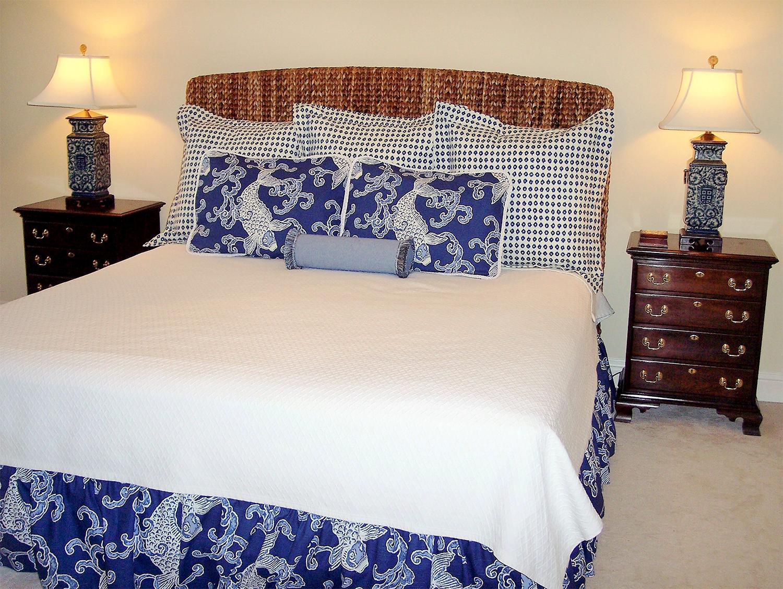 navy and white bedroom interior design by BK Designs of Atlanta Georgia