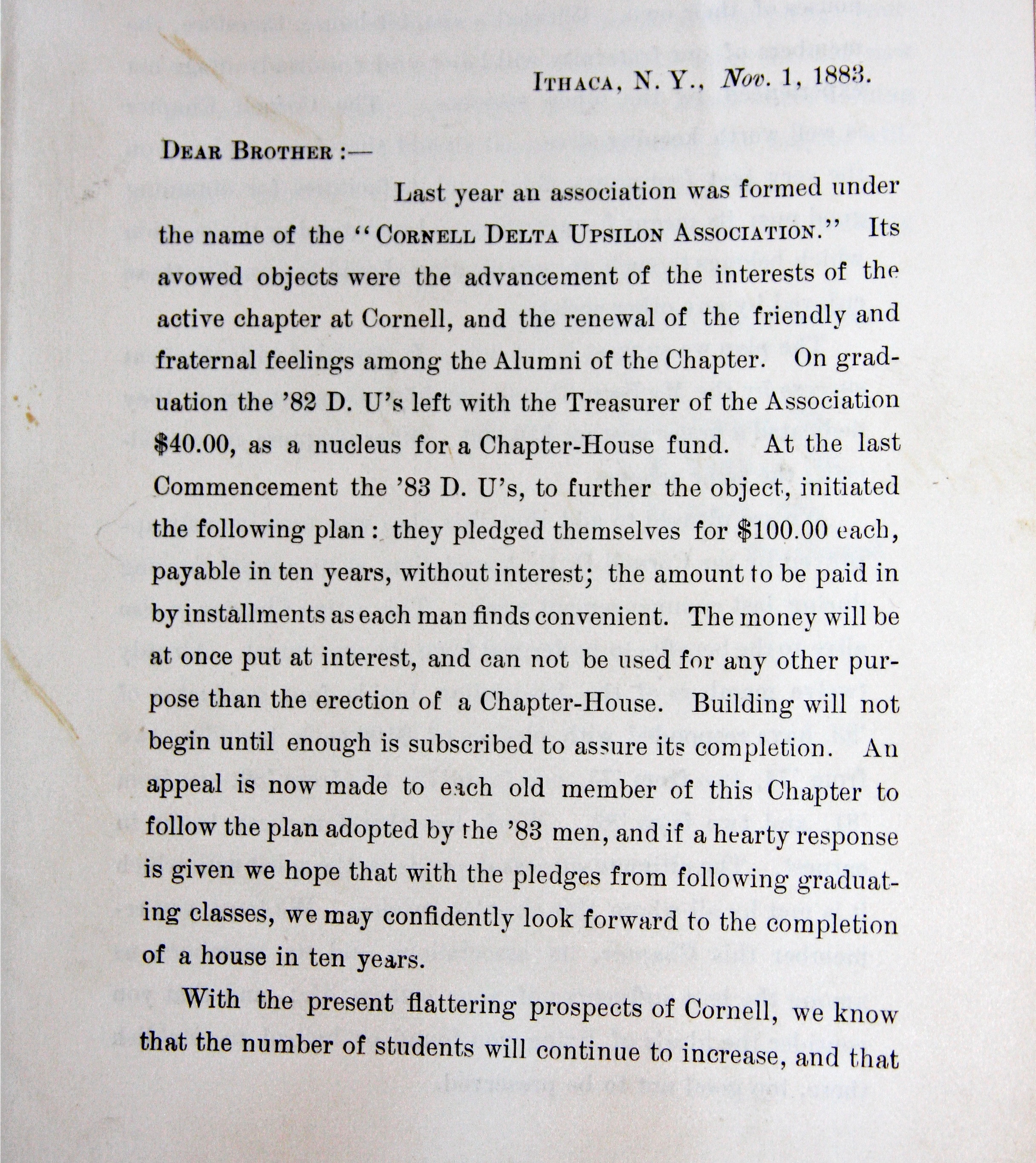 Circular Addressing Need for Chapter House 1883