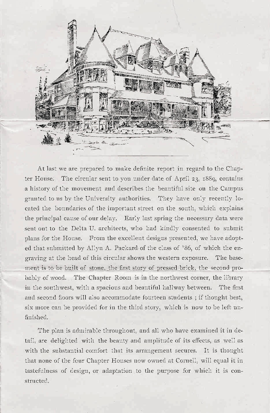 Fundraising Letter for First House | 1889