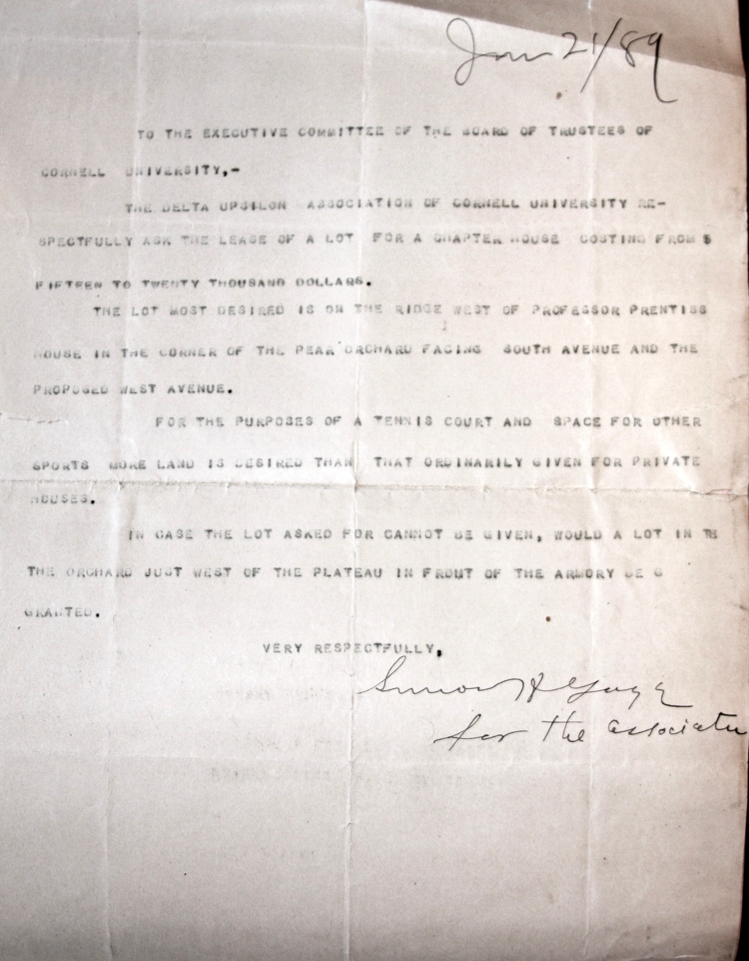 Letter to Cornell About New House | June 1889