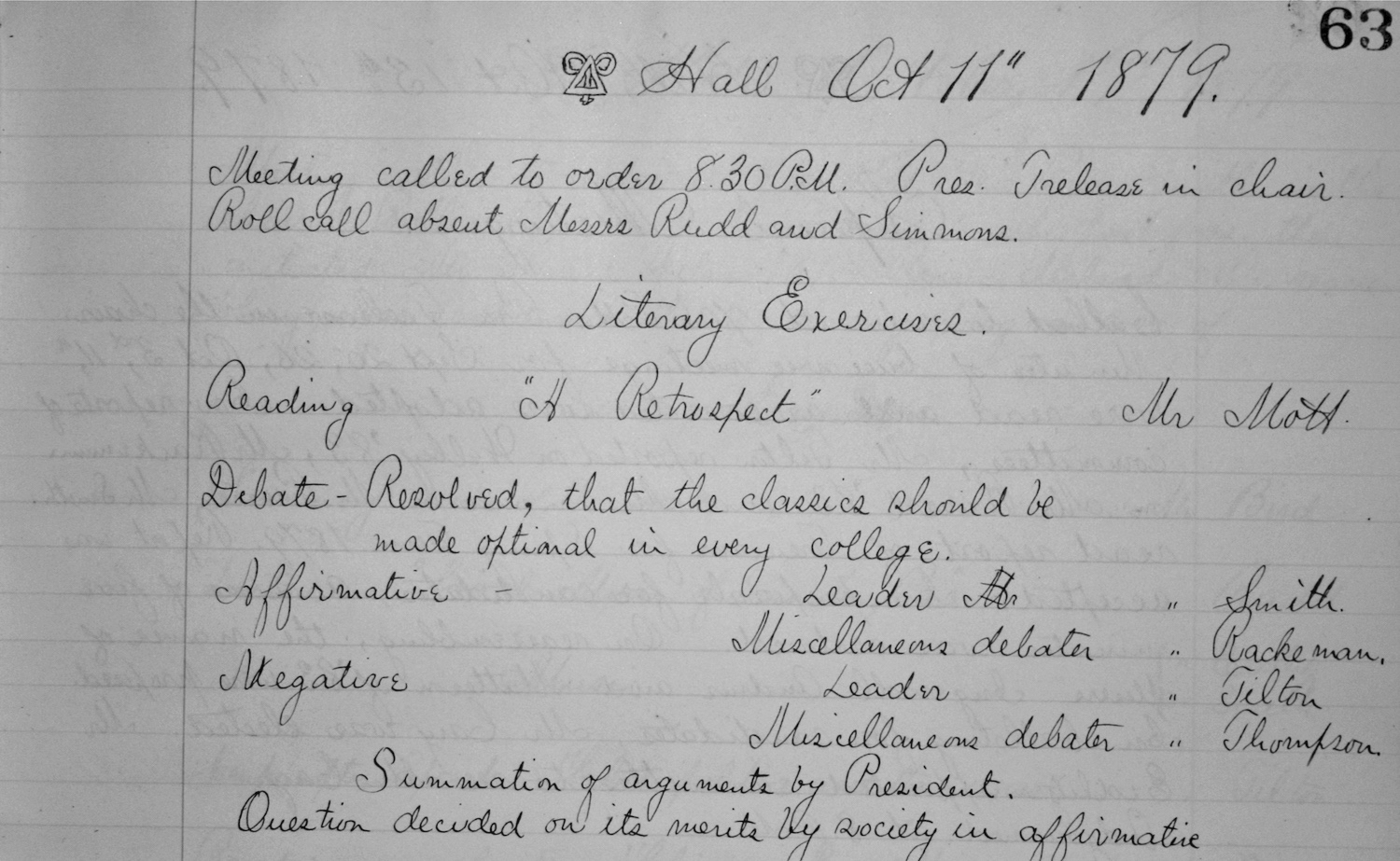 Chapter Meeting Minutes 1879