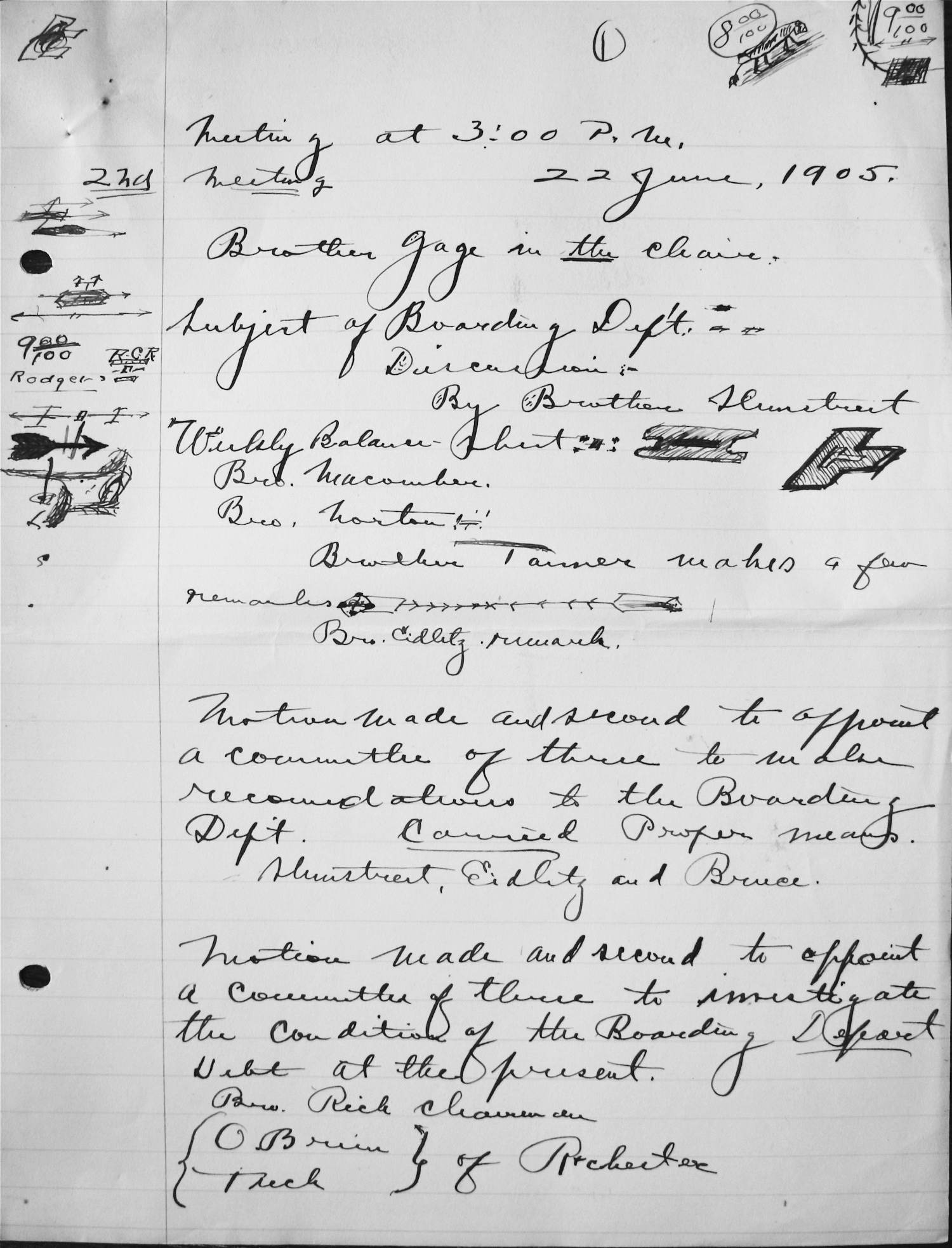 Minutes of CHapter Meeting 1905