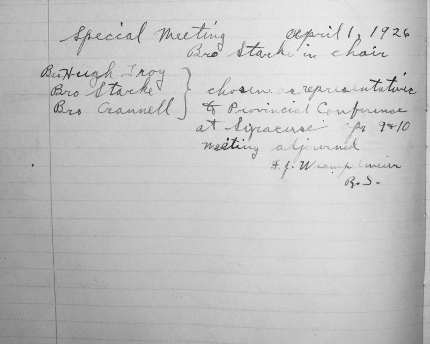 Minutes of Special Meeting, April 1, 1926