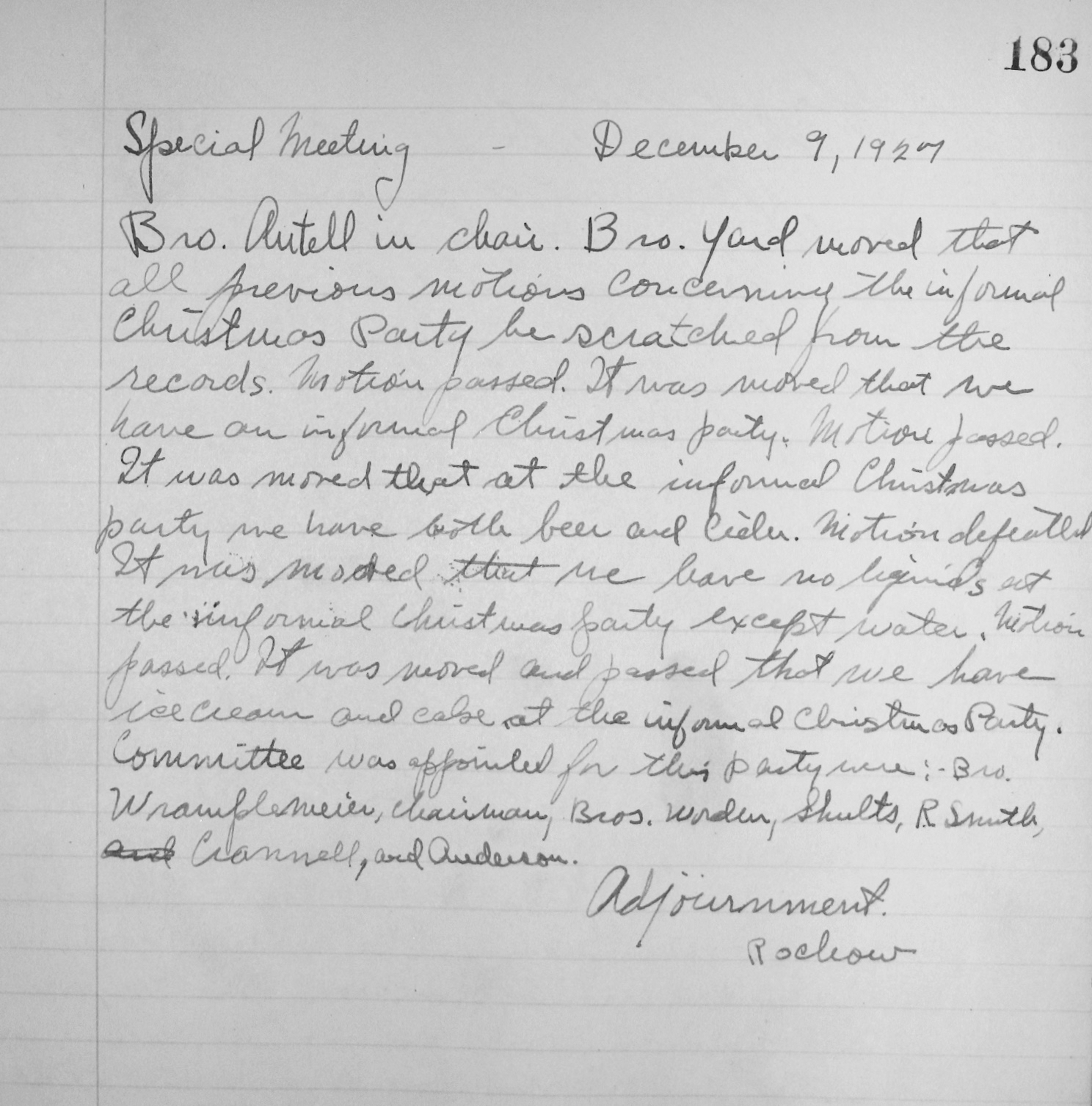 Minutes of Chapter Meeting, Dec. 9, 1927