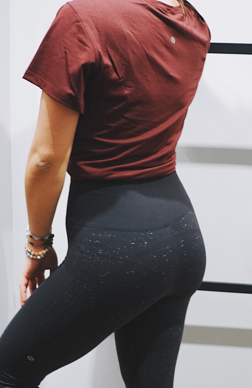 switched out the bodysuit for a beautiful maroon top - Next I picked out a maroon colored workout top and paired it with the black leggings from my last outfit. This type of outfit is my