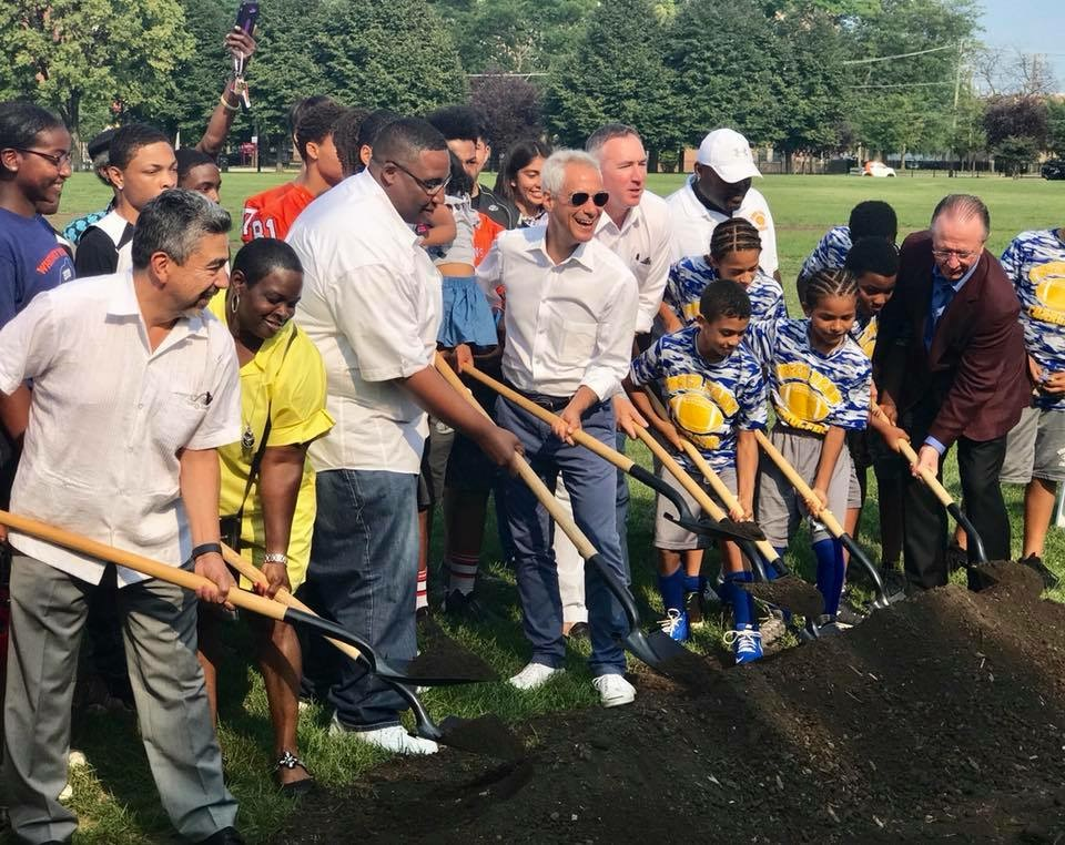 Alderman Solis & Alderman Jason Ervin break ground on a new, state-of-the-art, indoor track and basketball, athletic facility in Addams/Medill Park. - August 2018