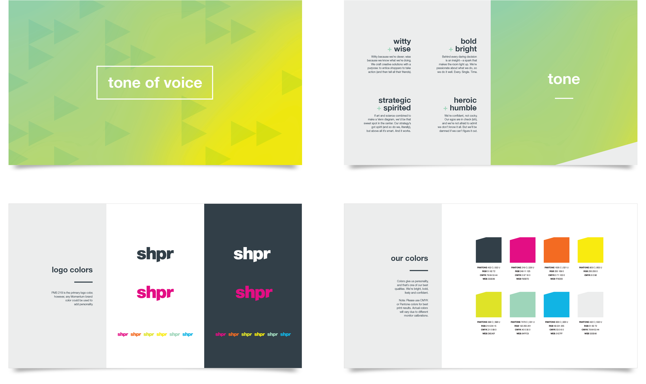 A few pages from the brand guidelines