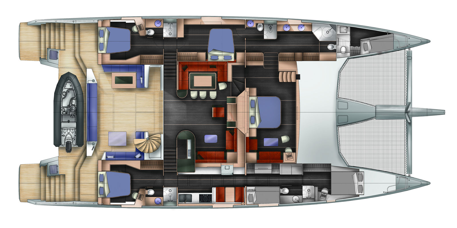 WindQuest's Interior Layout. 85ft Length 41ft Width. 3,400 SqFt Living Space.