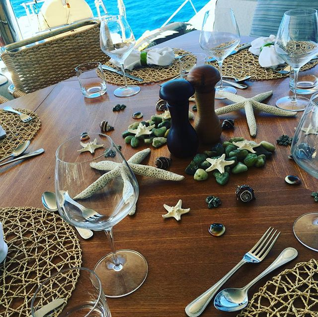 Tempting tables on WindQuest #yachting #tablesetting #yacht #britishvirginislands #catamaran #food