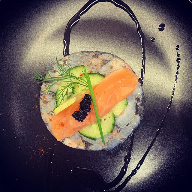 Terrine of shrimp with cucumber and smoked salmon topped with caviar #mediterranean #yachting #yacht #yachtchef #smokedsalmon #food #starters