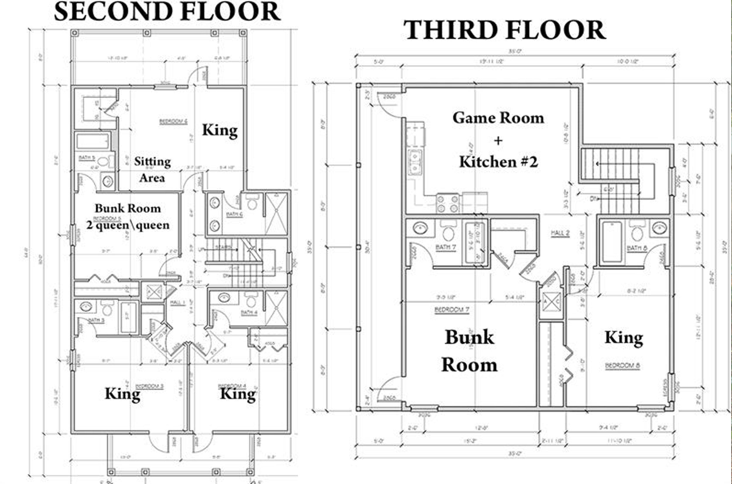 Second & Third Floor Layout Blueprint