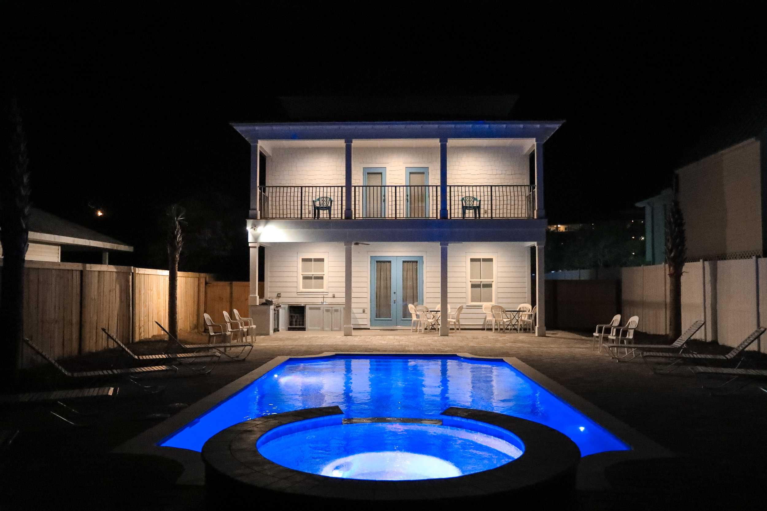 Back Pool Area At Night