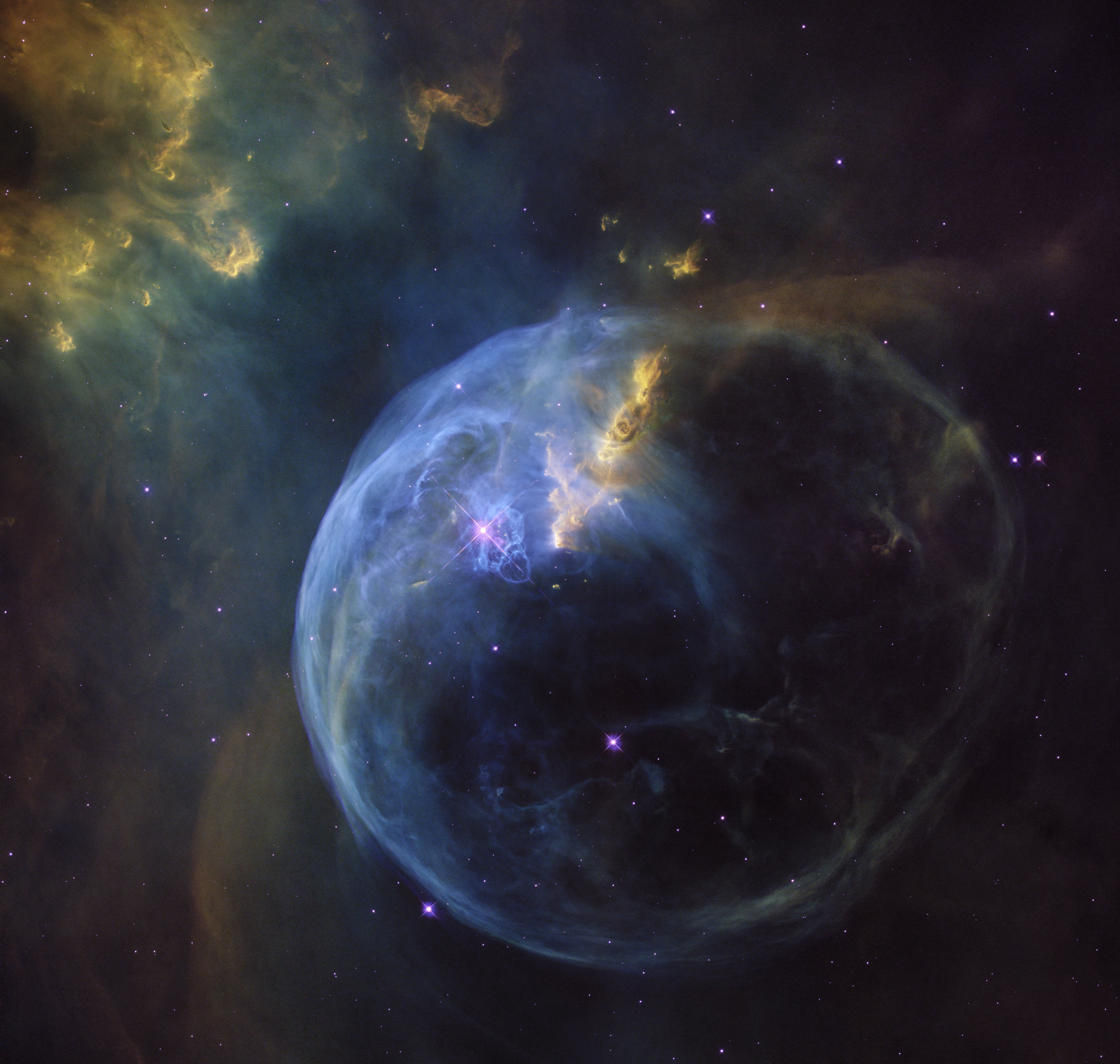 The Bubble Nebula, also known as NGC 7635, is an emission nebula located 8 000 light-years away. This stunning new image was observed by the NASA/ESA Hubble Space Telescope to celebrate its 26th year in space.   Credit:   NASA ,  ESA/Hubble  and the Hubble Heritage Team