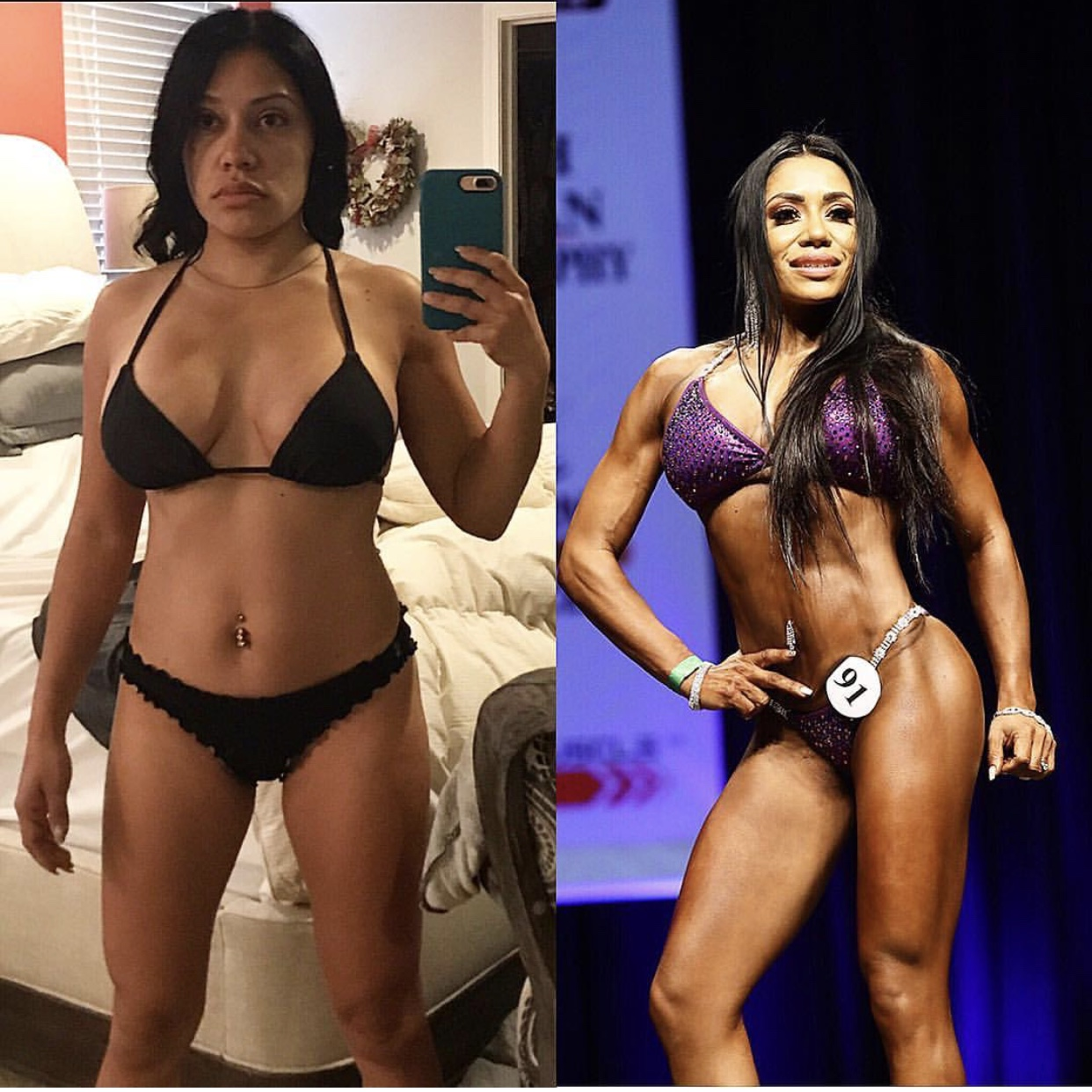 Sara Bent   All my client inspire me with their focus and intent to really transform. . The one and first client that really inspired me to transform and compete myself is Sara Bent, my first bikini competitor. Sara came to me in November, 16 weeks prior to her first competition. Her only focus was to train her legs to get bigger and more defined (which is my speciality). We trained consistently three times a week on legs for those weeks prior to her show. She absolutely looked amazing, her focus and work ethic was nothing that I had seen from anyone.  ____________  YOU my lady, have truly been a HUGE part of MY journey!!!. I don't think I could've grown as much physically and mentally without your amazing personal training and push I needed! I'm forever grateful for helping me throughout my journey!!!! Now that you got me started I gave you in my head to Always keep pushing !!!!