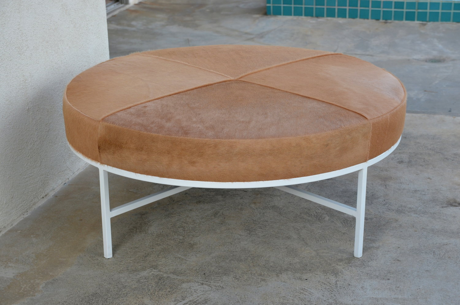 White And Beige Hide Tambour Ottoman Or Coffee Table By Design
