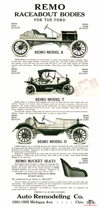 Remo Raceabout Bodies for Model T ad courtesy Larry Sigworth collection