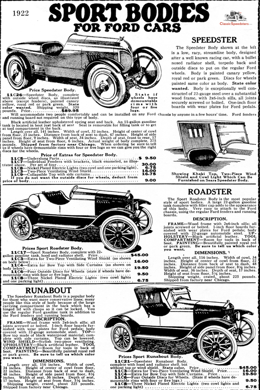 1922 Sport Bodies for Model T ad courtesy Larry Sigworth collection
