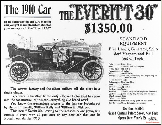 1910 Everitt 30 by the Metzger Motor Car Co. Note the similarity to the E-M-F 30!