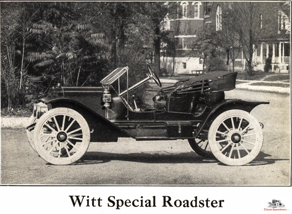 1912 Flanders 20 Witt Special. Note the lowered, raked seat and steering wheel, round gas tank, and larger diameter tires when compared to the 1912 Roadster model.