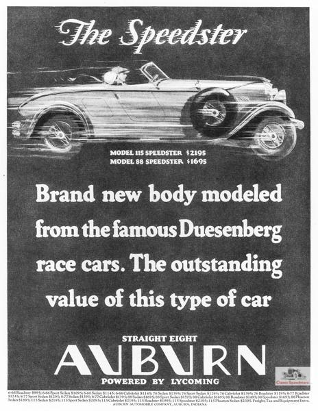 1928 Auburn Speedster ad.  Illus courtesy AACA Library