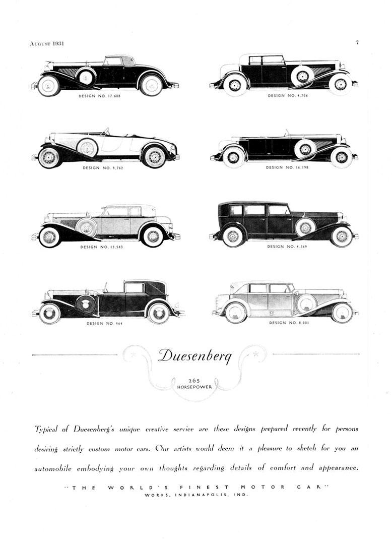 1930-31 Duesenberg Catalog Custom Models