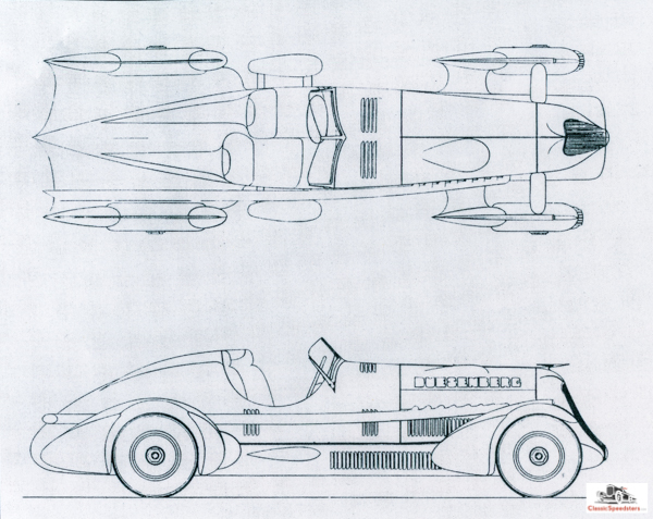 1935 Duesenberg Special plans (excerpt)  courtesy Fred Roe Collection