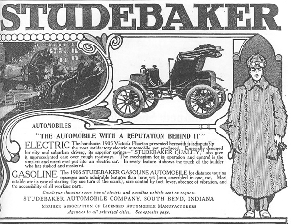 1905 Studebaker Ad. The cars were made by Garford at this time.  image courtesy HCFI.org