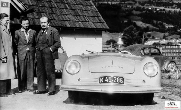 1948 Porsche 356/1. Standing (R to L) are Dr. Ferdinand Porsche, Ferry Porsche, and Erwin Komenda  photo courtesy Porsche AG