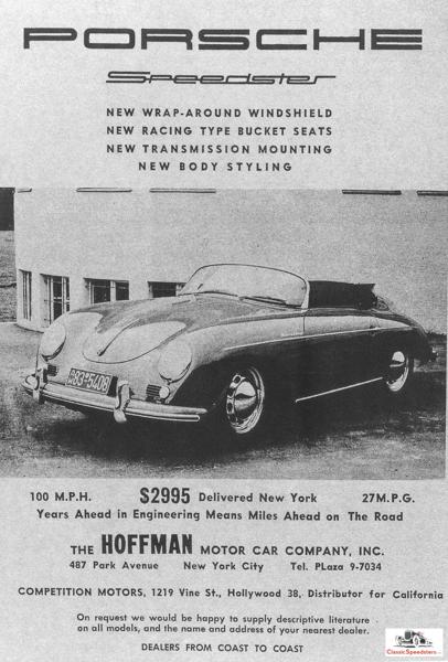 1954 356 Speedster.  ad courtesy Porsche Archives