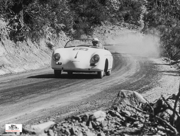 356 Speedster in its element - competition!  photo courtesy Porsche Archives