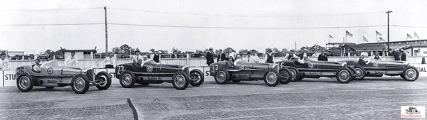1932 Indy 500 with Studebaker 5-car team.  photo courtesy Studebaker National Museum