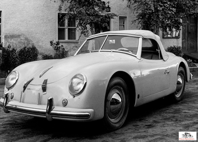 1952 America Roadster. Note the attitude of the rear wheels and the curve in the door sill.   photo courtesy Porsche Archives