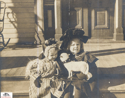 Amelia and Muriel Earhart on Porch 1904  courtesy Purdue University Archives