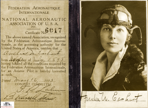 Amelia Earhart's Flying License 1923  photo courtesy the 99s Museum of Women Pilots