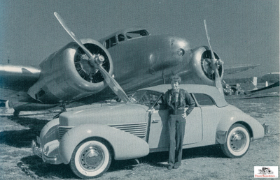 Amelia Earhart w 1936 Cord. She loved her convertibles!  Photo courtesy Lockheed-Martin