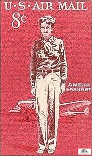 Amelia Earhart and her Lockheed Electra on a 1963 U.S. Airmail postage stamp