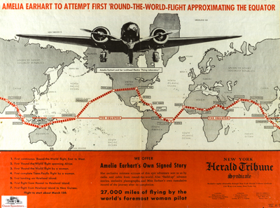 Amelia Earhart World Circumnavigation Flight Map 1937.  Image courtesy Purdue University Archives