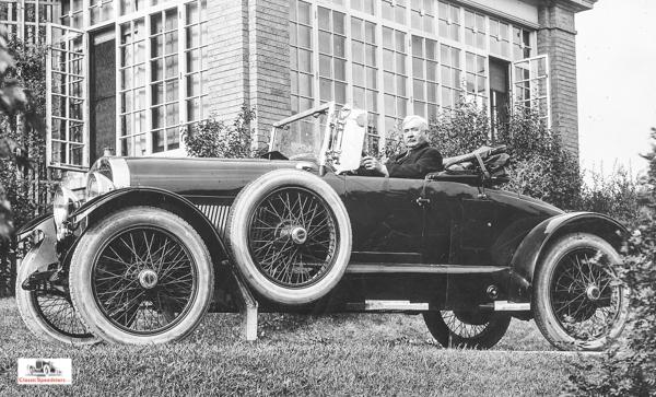 Elwood Haynes in his 1920 Haynes Light Six Speedster.  photo courtesy Haynes Museum