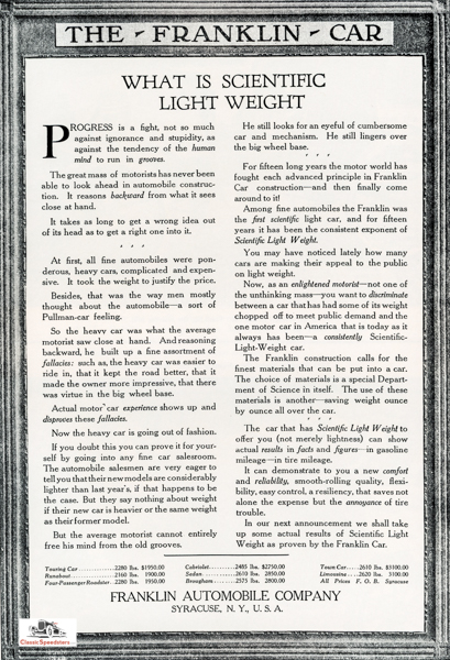 1917 Franklin ad as it appeared in automobile journals