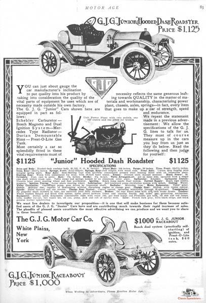 1911 GJG Junior Hooded Dash Roadster and Junior Raceabout