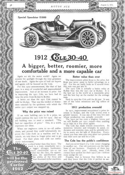 1912 Cole 30-40 Special Speedster