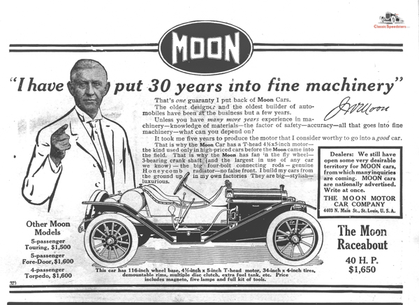 1911 Moon Raceabout, with a personal pitch by owner Joseph W. Moon