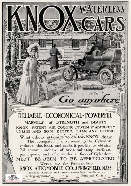 """1904 Knox ad. Note the placement of Baby and Mom, gun, and fishing rod.  """"Go Anywhere""""  capstones the image."""