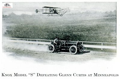 Here Barney Oldfield was racing against Glenn Curtiss at the Minneapolis State Fair in 1910. Probably staged!  personal collection