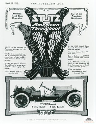 1915 Stutz Bearcat. Note the nationalistic cues.