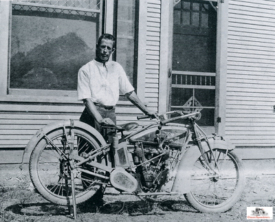 1914 Ab and his Excelsior, which he used to explore the area and also race.  Jenkins family photo