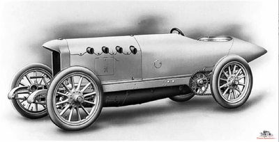 1909 Blitzen Benz, factory illustration. Purpose-built track speedster: four cylinders, 1311 cubic inches, 200 horsepower.  Wow!