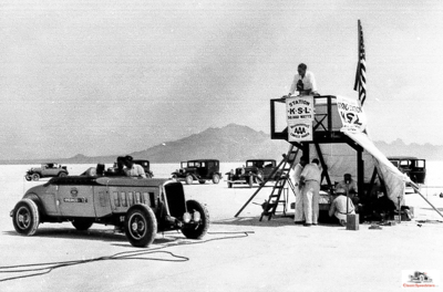 1933 Pierce-Arrow in final prep before its record run on the salt.  photo courtesy Utah State Historical Society