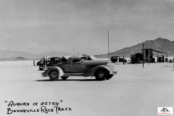 Ab Jenkins setting speed & endurance records for Auburn, 1935.  Shipler photo collection, courtesy Marriott Library, U of Utah
